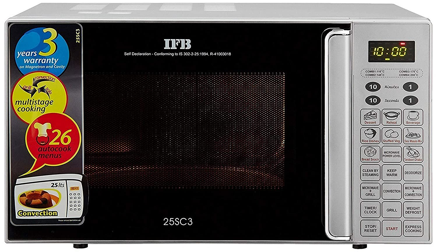 IFB 25 L Convection Microwave Oven  25SC3, Metallic Silver, With Starter Kit  Microwave Ovens