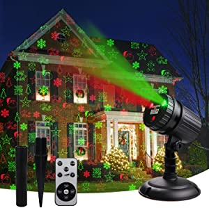 Christmas Laser Projector Lights, 8 Patterns Led Projection Lights with Remote, Landscape Projector Spotlights, Red and Green Star Show, Decoration for Outdoor and Indoor, Christmas, New Year, Holiday