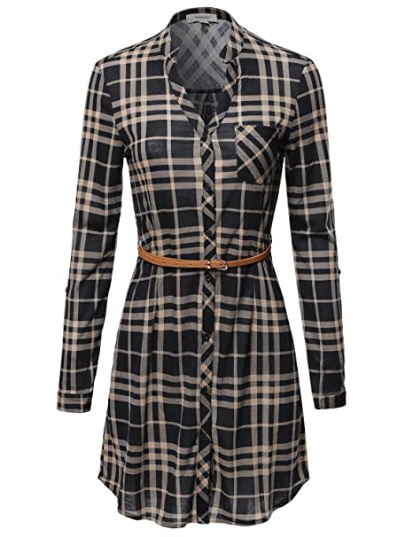 Awesome21 Plaid Button up Shirt Dress with Detachable Faux Leather Belt  Black Beige Size S bd5db96ae