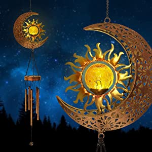 Solar Wind Chimes for Outside - Sun Moon Hanging Outdoor Decor Crackle Glass Ball Warm LED Memorial Wind Chimes Light with Deep Tone Metal Tubes Waterproof for Garden Yard Patio Lawn Yard (1 Pack)