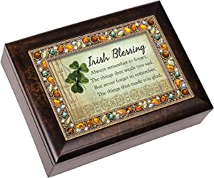 Cottage Garden Irish Blessing Always Remember Earth Tone Jewelry Music Box Plays When Irish Eyes are Smiling