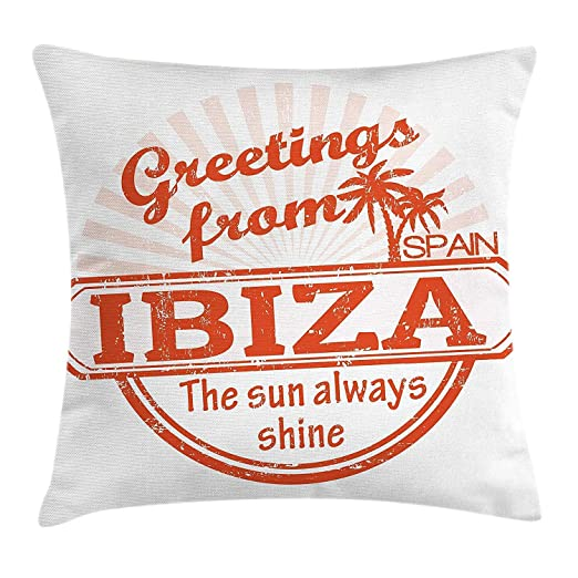 BaozjX Ibiza Throw Pillow Cushion Cover, Grunge Rubber Stamp ...