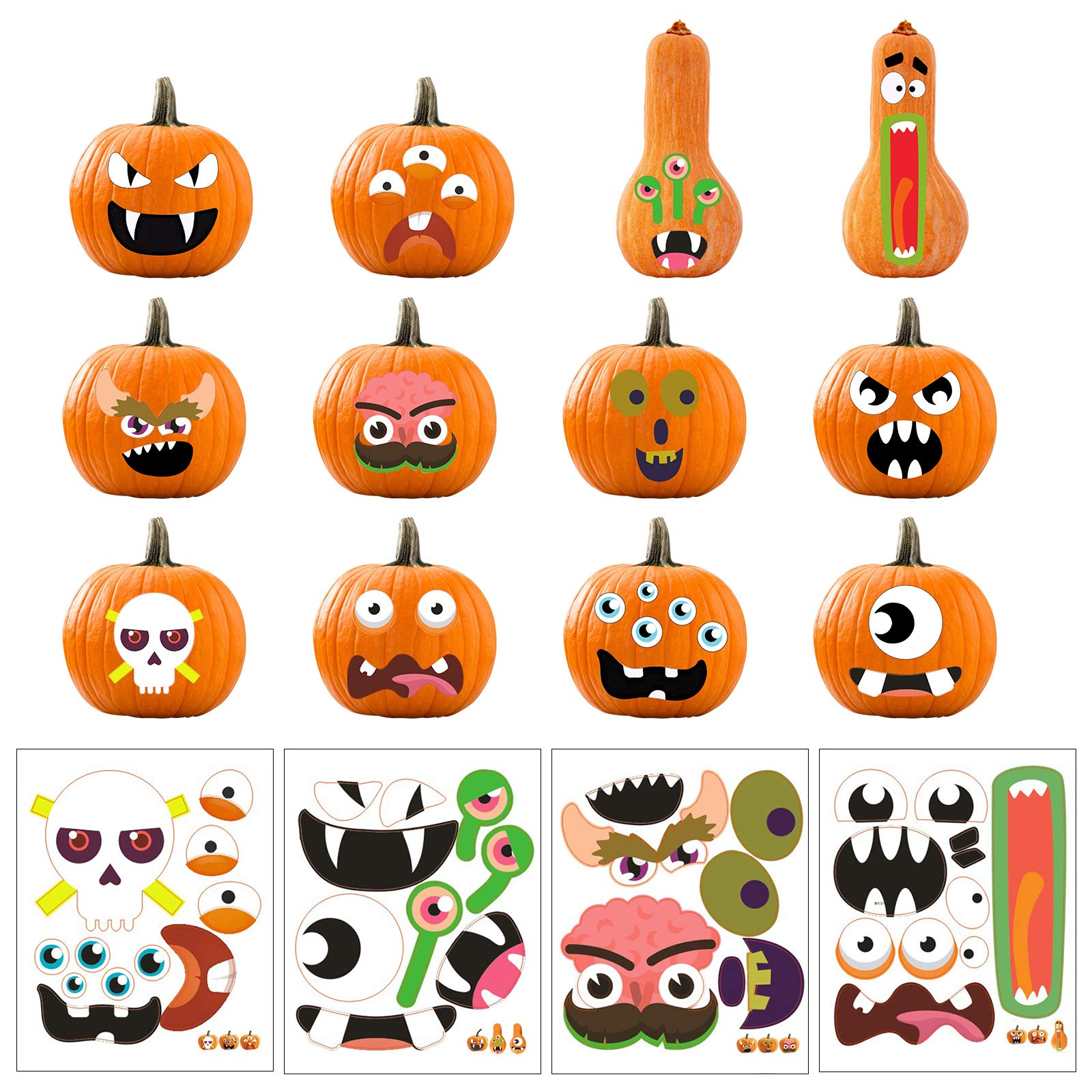 TAZEMAT Halloween Pumpkin Sticker Face Expression Stickers DIY Craft Decoration Trick or Treat Party Jack-O-Lantern Decorating Decals Funny Cartoon Scrapbooks Favors Kids Children Gifts 24 Patterns