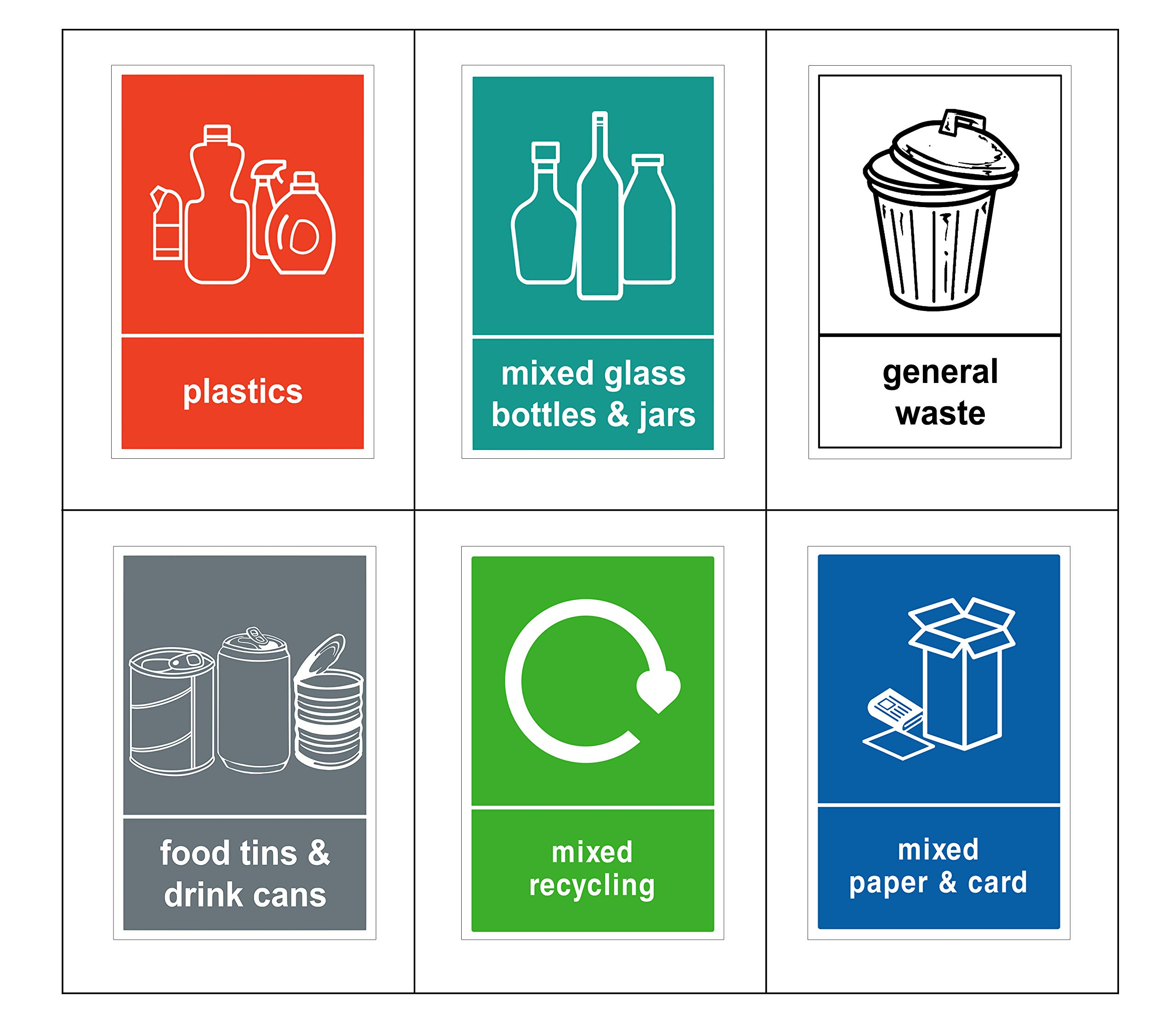 Mixed Pack of 6 Multi Recycling Bin Sticker-Self Adhesive with Waterproof Bin Labels/Food/Plastics/Mixed Paper & Card/Mixed Glass/General Waste 6 decals (A6-100 x 150 mm) V1082 Sara Prints
