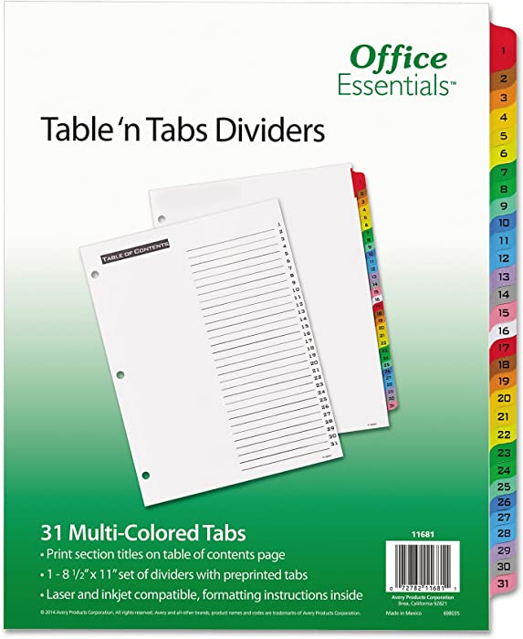 Office Essentials 11681 Table 'n Tabs Dividers, 31-Tab, Letter