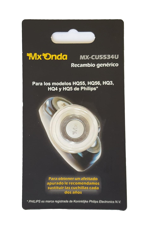 MX-ONDA CU5534U - Recambio para afeitadoras Philips, modelos HQ55, HQ56, HQ3, HQ4, HQ5 - 1 Unidad