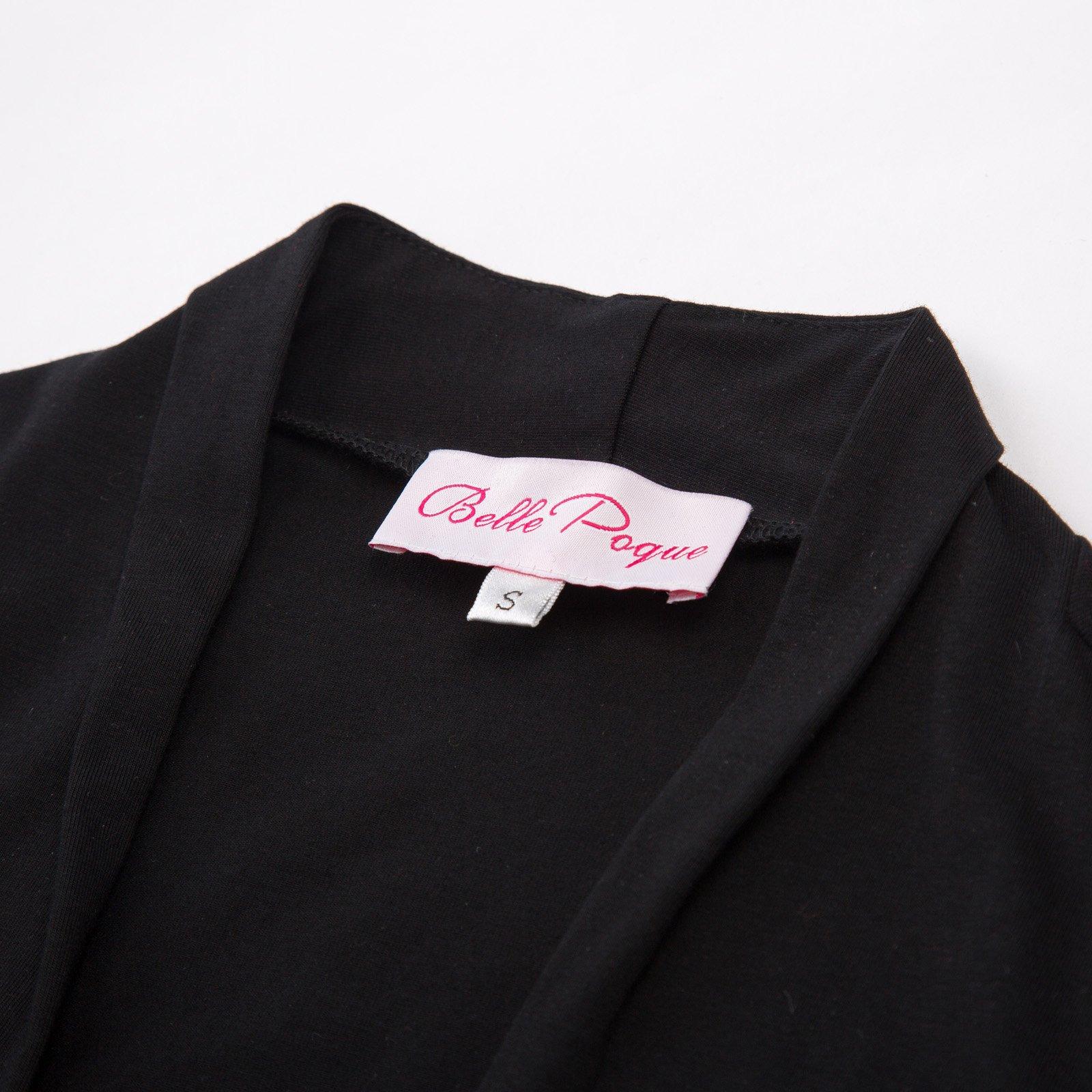 Spring Black Cropped Wedding Bolero Jacket Plain(XL, Black 512-1) by JS Fashion Vintage Dress (Image #7)