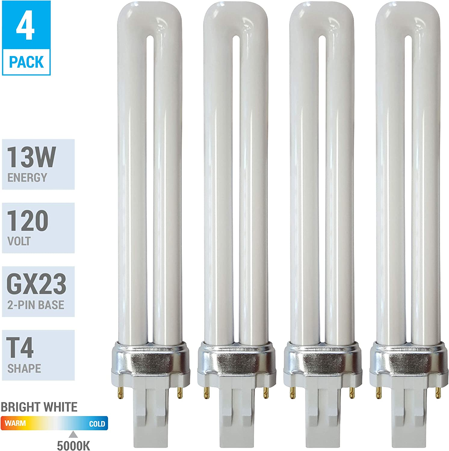 (Pack of 4) 13 Watt Single Tube 2 Pin GX23 Base - 5000K Bright White 50K - CFL Light Bulb - Replacement for Sylvania 21135 CF13DS/850- Philips 146878 PL-S 13W/850 and GE 97572 F13BX/850