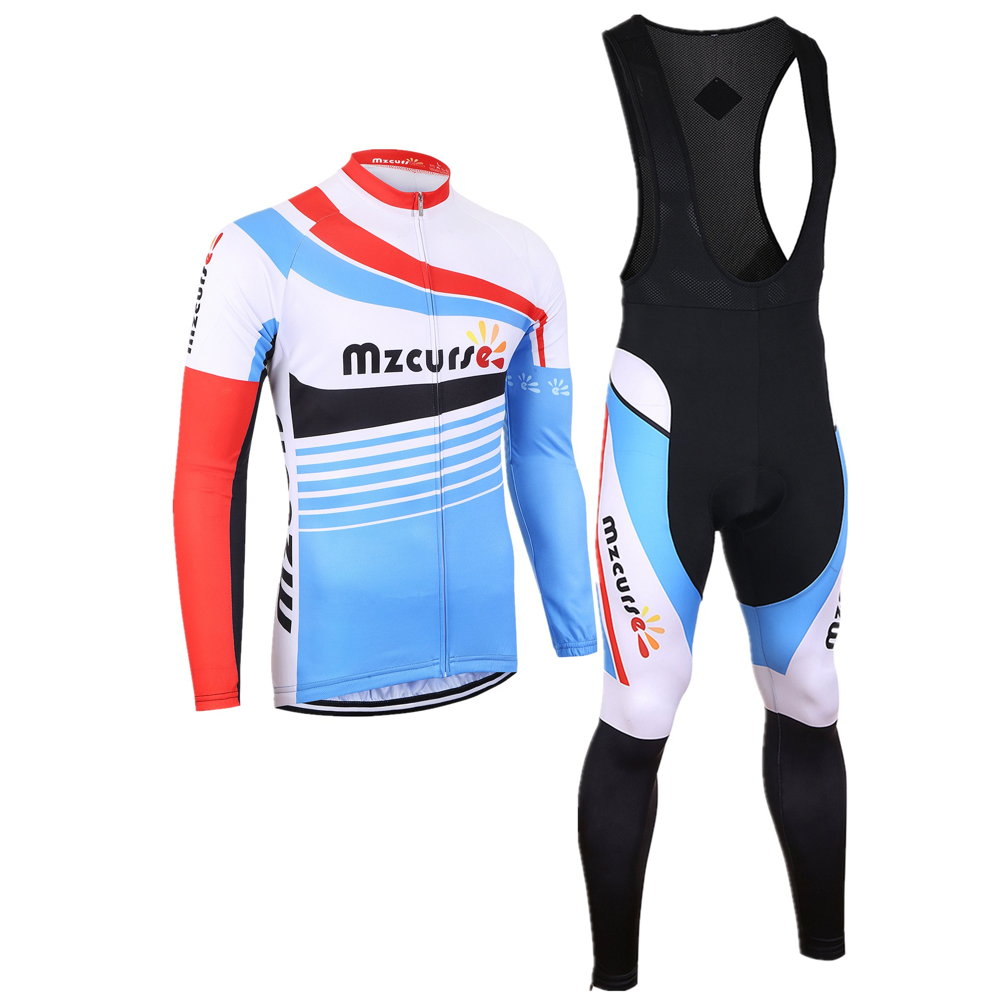 mzcurse Bicycle Bike Cycling Long Sleeve Jersey Jacket + Pants Shorts Set Skin Suits (Color Bib, Small,please check the size chart)