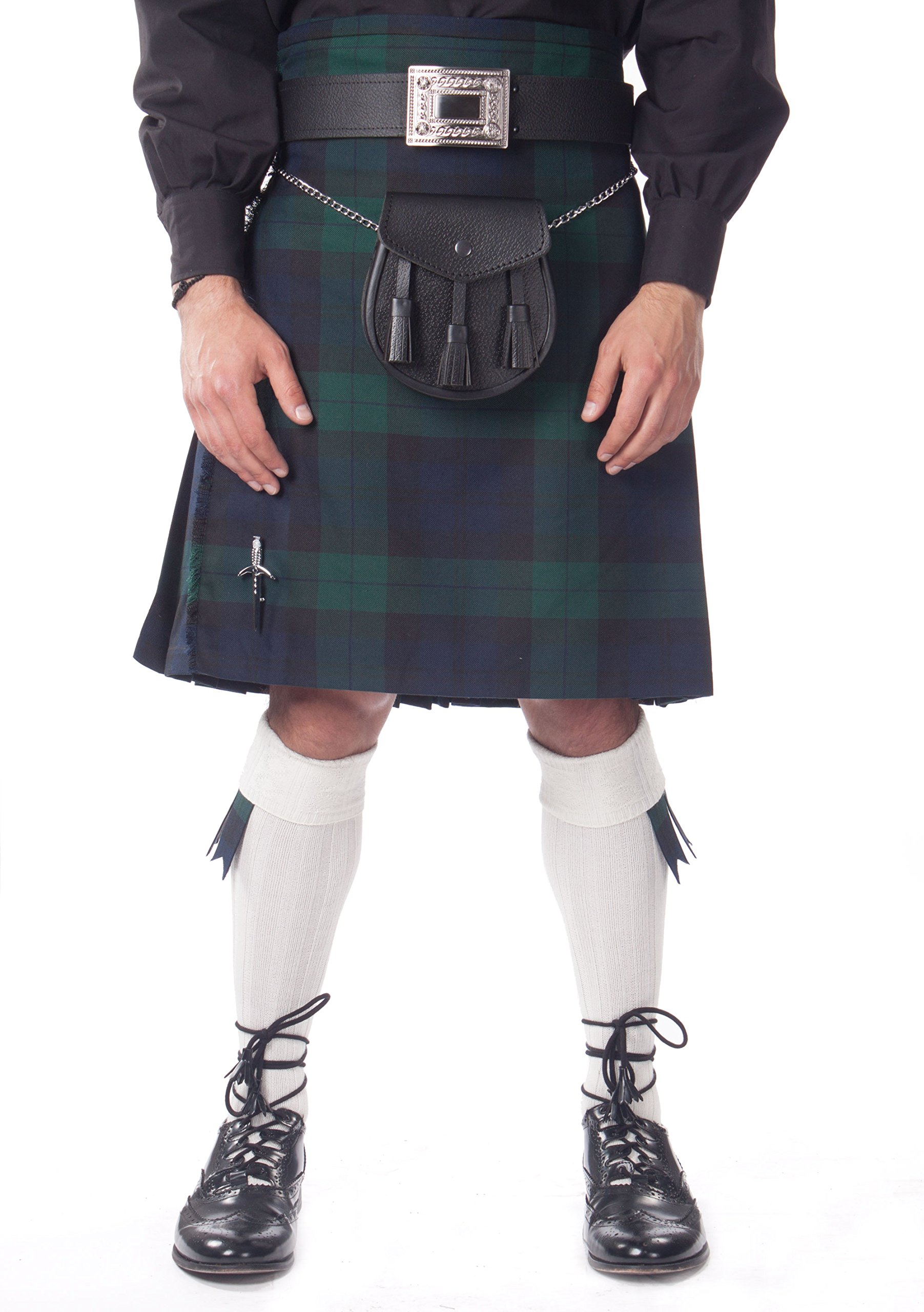 Kilt Society Mens 7 Piece Casual Kilt Outfit- Black Watch Tartan with White Hose 38'' to 42''