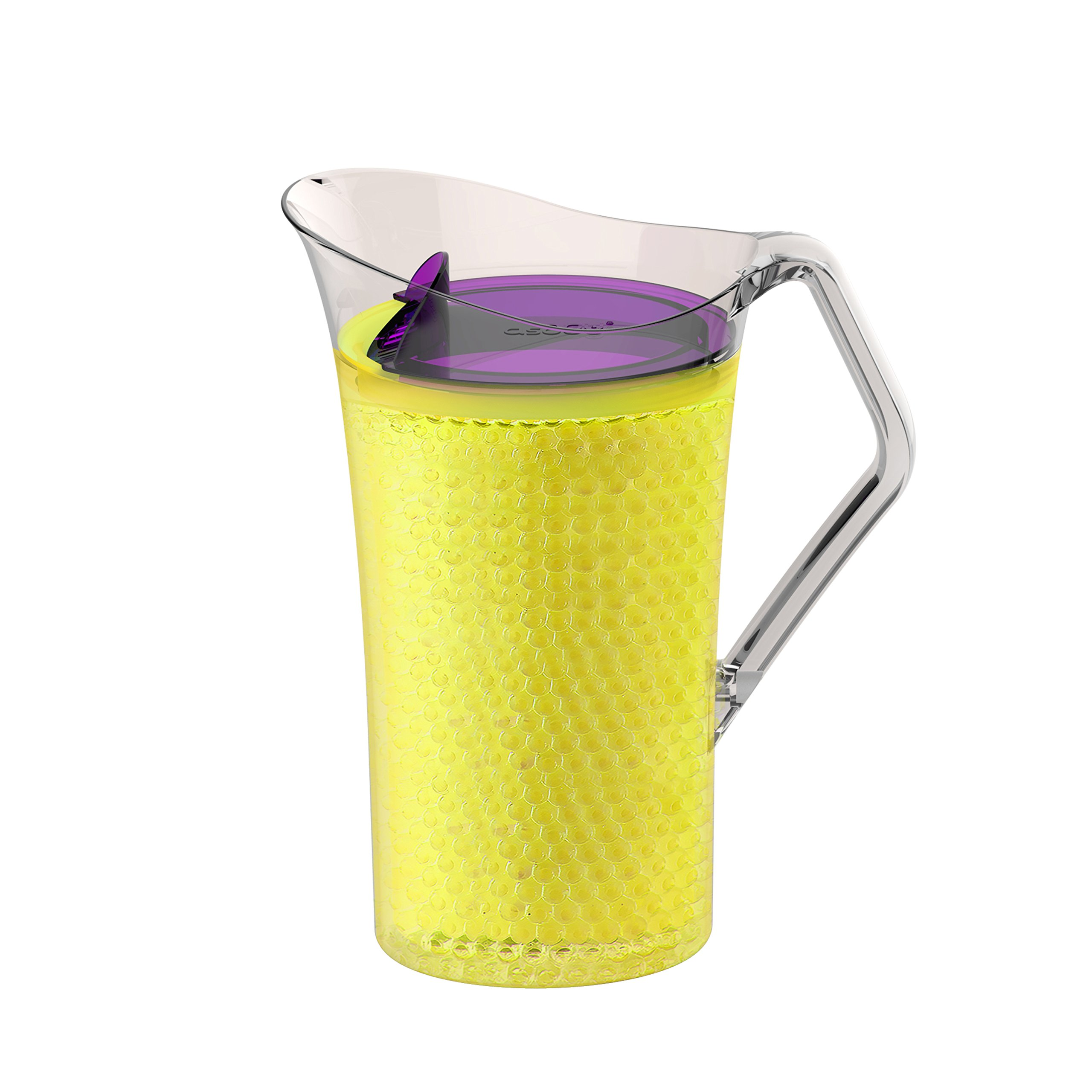 Asobu Iceberg Pitcher with Freezable Double Walls for Water Beer or Tea Bpa Free 50 Ounce (Yellow)