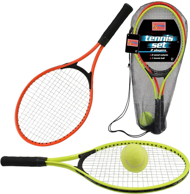 Childrens Kids Metal Junior Raqueta de tenis conjunto 2Raquets y bola juguete al aire libre Jugar Juego Set