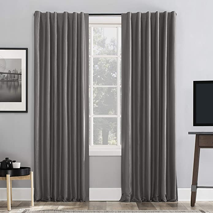 "84""x50"" Evelina Faux Dupioni Silk Thermal Extreme 100% Blackout Back Tab Curtain Panel Gray - Sun Zero"