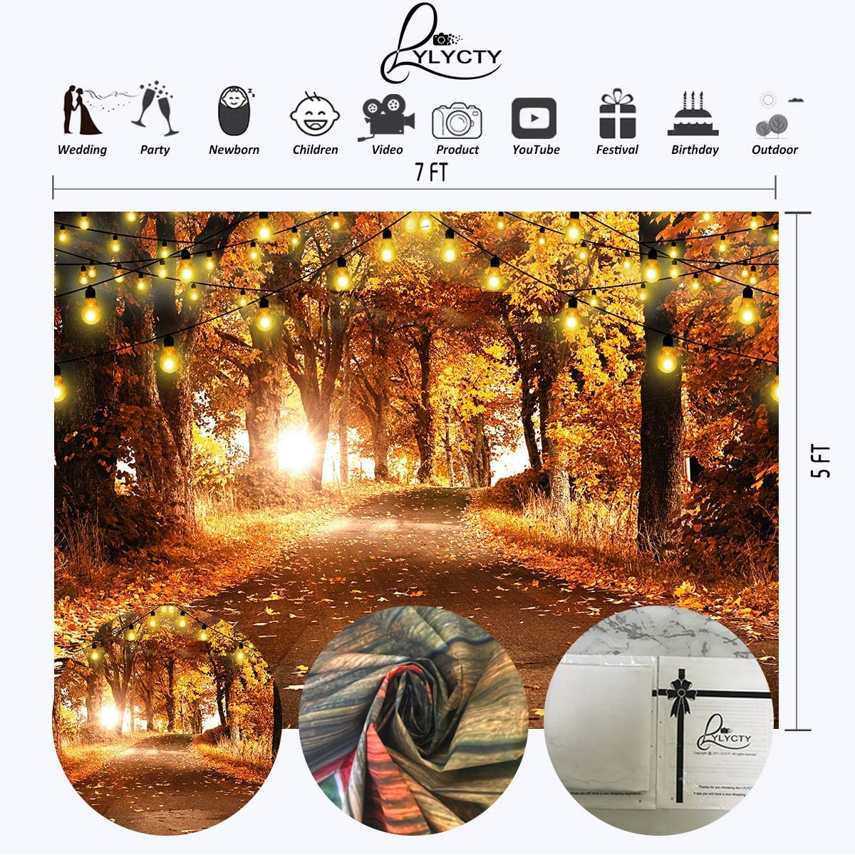 5x7ft Vinyl Autumn Leaves String Lamp Decoration Photography Backdrop Vinyl Theme Party Banner Photo Shooting Props Background LYLS1108 for Party Decoration Birthday YouTube Videos School Photoshoot P