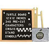 Letter Board - 12 X 12 Felt Letter Board Black | 340 PRE-Cut Letters, Numbers, Symbols & Emojis, Felt Zipper Pouch and Easel Tripod Stand | Changeable Message Board, DIY Customizable Letterboard Sign