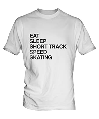 a666aa20d995 Candymix Eat Sleep Short Track Speed Skating Mens White T-Shirt Top   Amazon.co.uk  Clothing