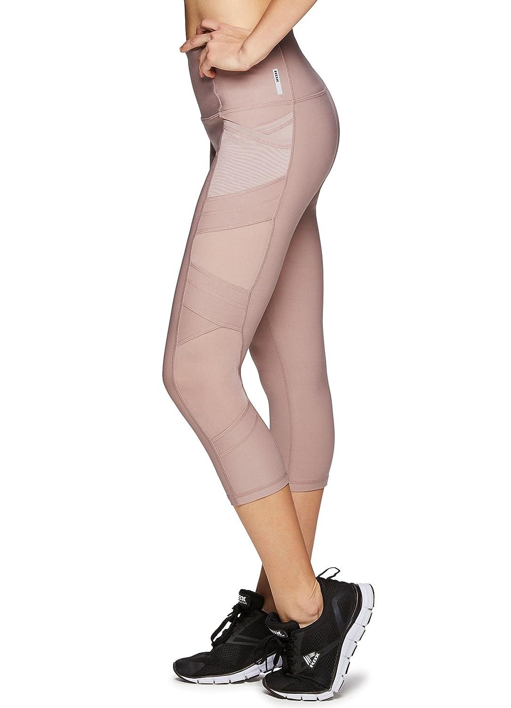 RBXアクティブレディースCapri Legging with Mesh Inserts and Xストラップ B078HCWCSV M|Mesh Rose Mesh Rose M