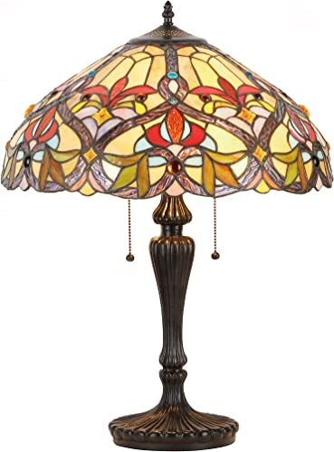 Bieye L10717 Cruciate Flower Butterfly Tiffany Style Stained Glass Table Lamp with 14 inches Wide Lampshade and Bird Nest Tree Trunk Base