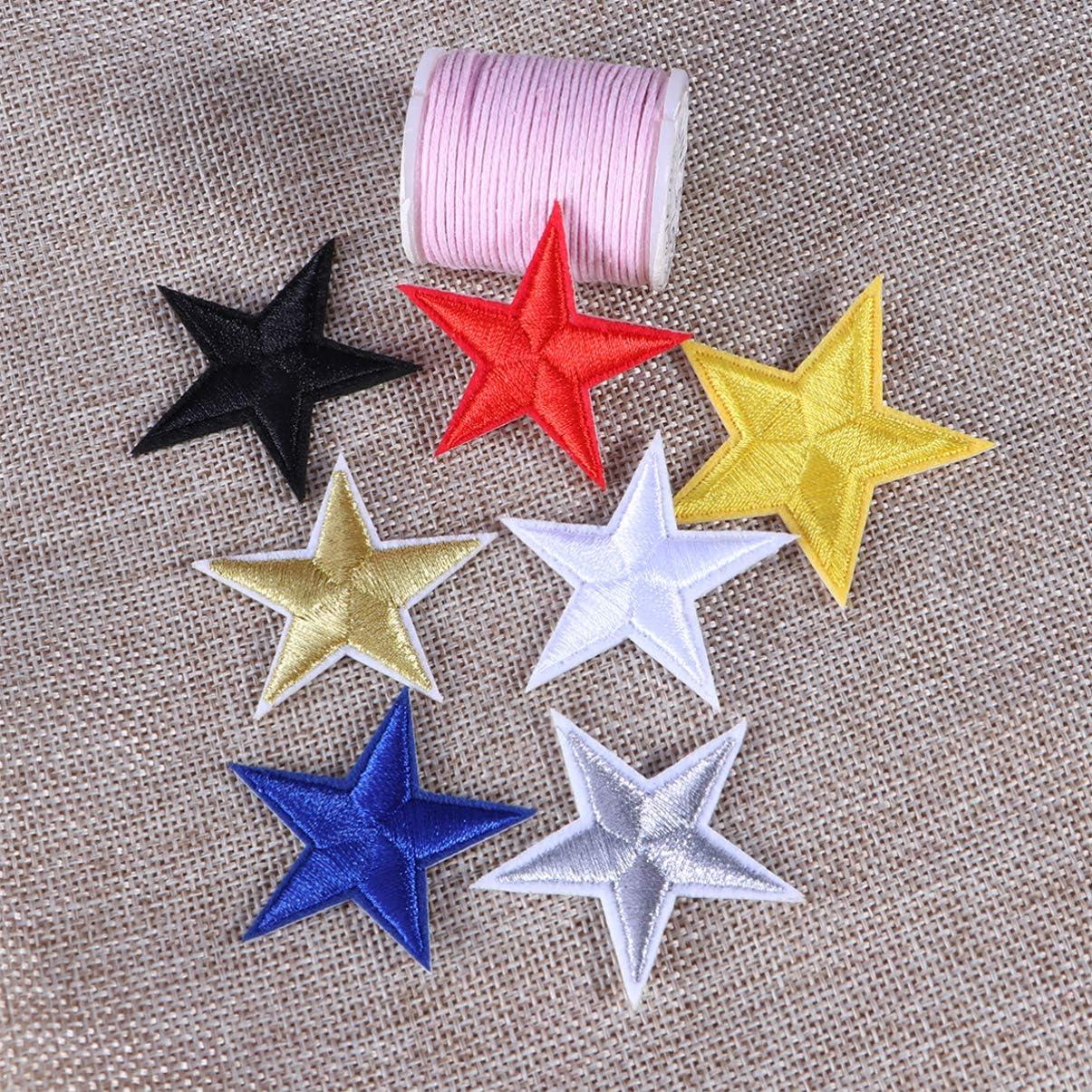 para vaqueros manualidades chaquetas ropa Parche de estrella para coser o planchar costuras azul parches bordados para planchar HEALLILY plata