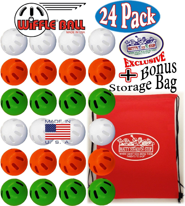 WIFFLE Balls Green, Orange & White Official Size Baseballs Matty's Toy Stop Set Bundle with Storage Bag - 24 Pack (8 Green, 8 Orange & 8 White)