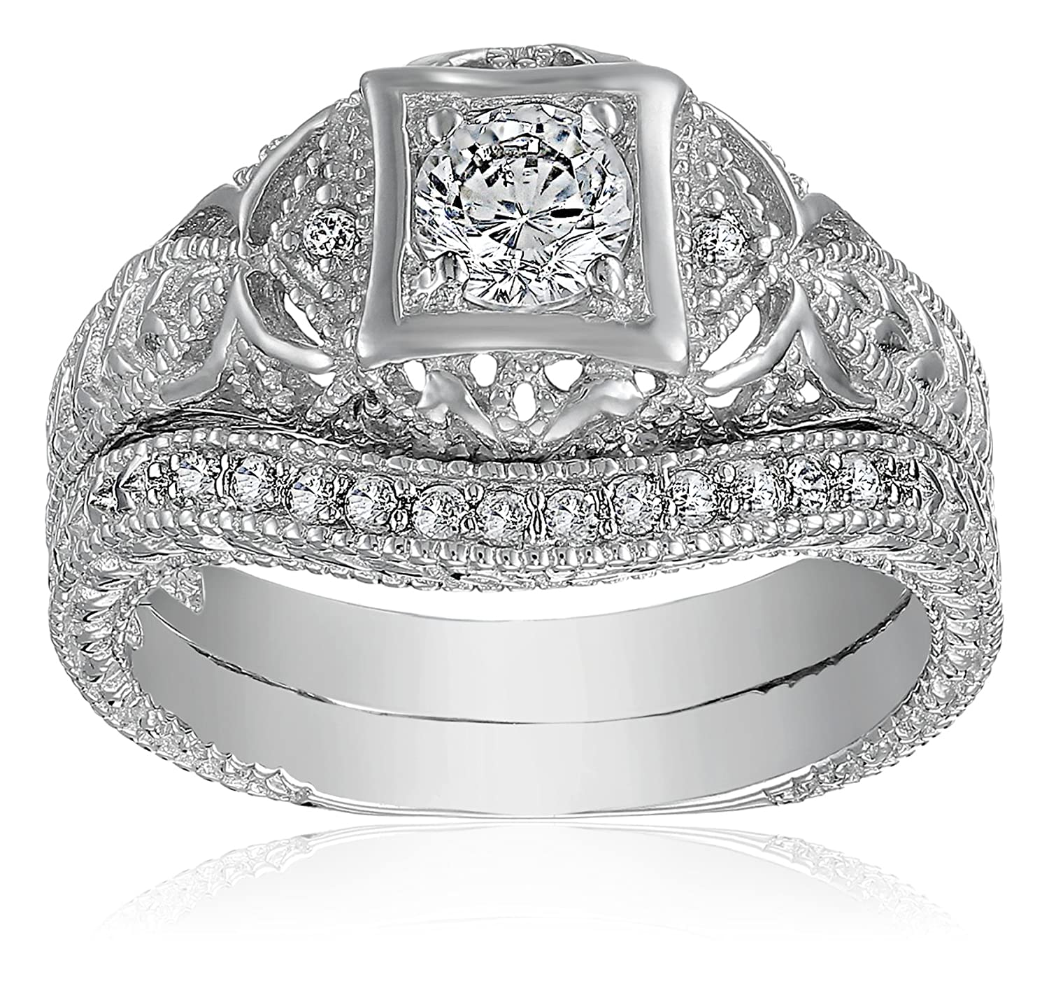 Amazon 43ct Antique Filigree Round Cz Vintage Waved Cubic Zirconia Engagement Wedding Band Ring Set 925 Sterling Silver Jewelry: Antique Filigree Wedding Rings At Reisefeber.org