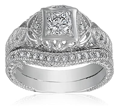 Amazoncom Bling Jewelry Antique Style 925 Silver Round CZ Vintage