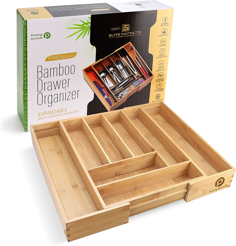 Bamboo Silverware Tray Drawer Flatware Organizer Storage Kitchen Cutlery Utensil