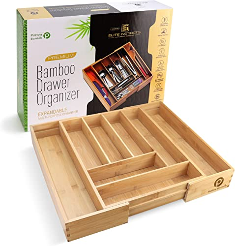 Pristine Bamboo Flatware Drawer Organizer