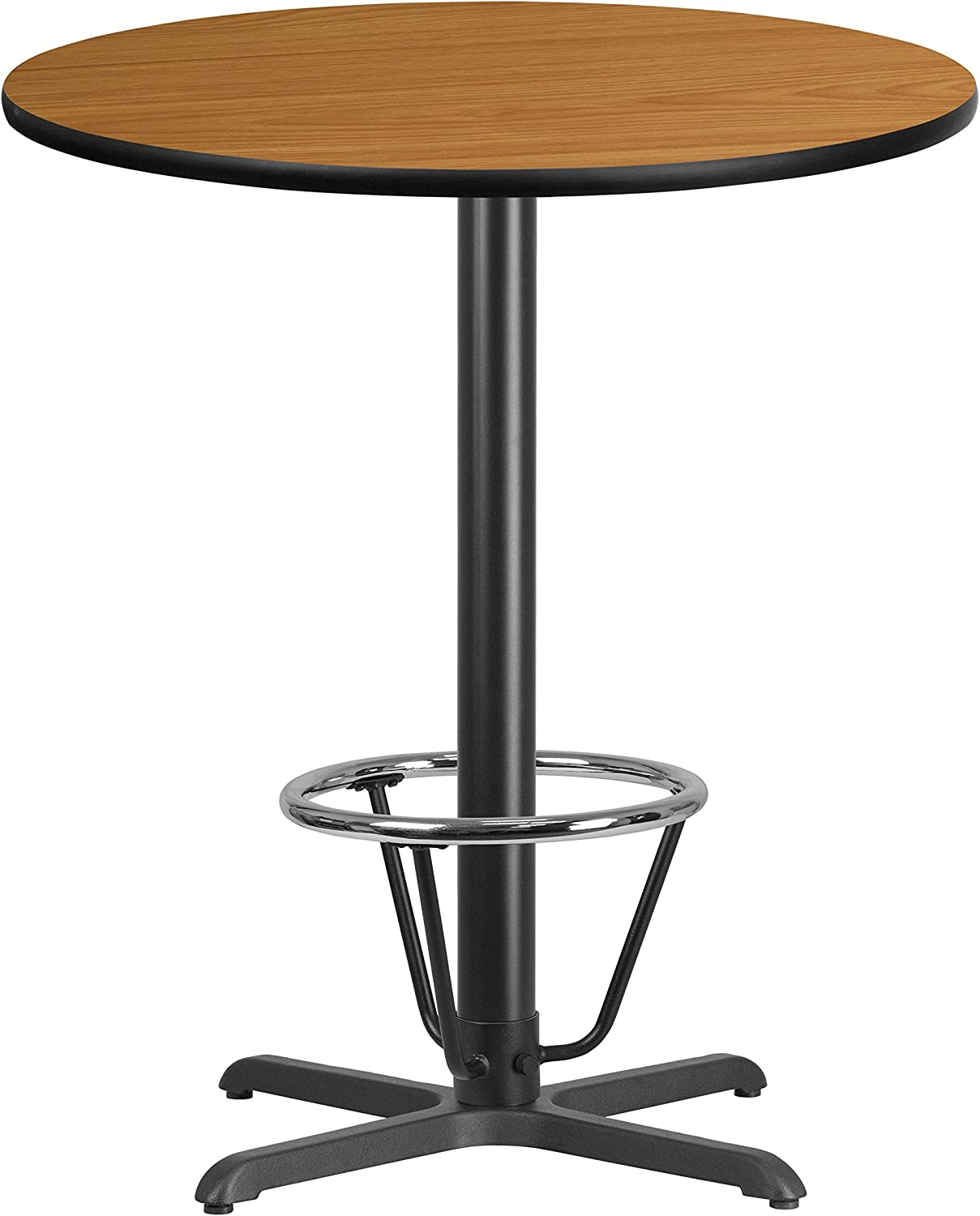 Flash Furniture 36'' Round Natural Laminate Table Top with 30'' x 30'' Bar Height Table Base and Foot Ring