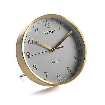 Versa 18560341 Reloj de mesa Blanco y Dorado, Ø16cm diámetro, Aluminio y cristal: Amazon.es: Hogar