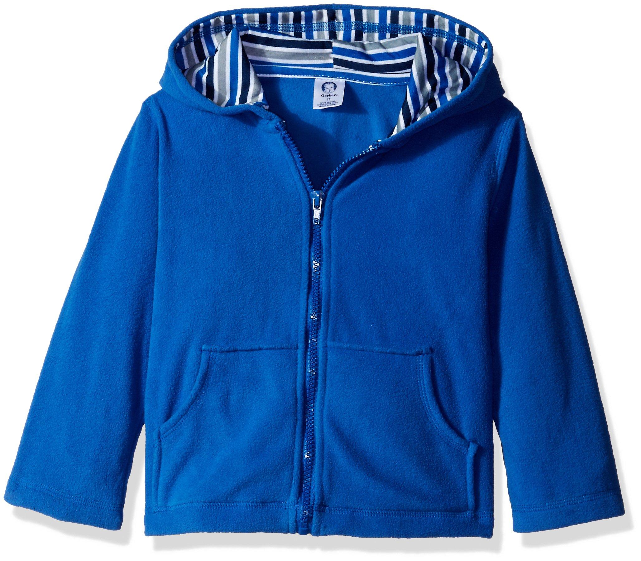 Gerber Little Boys' Toddler Hooded Micro Fleece Jacket, Blue, 3T by Gerber