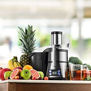 L'Equip Centrifugal Juicer with Extra Wide Feeder Mouth | 800-Watt Dual-Speed Motor Juice Extractor | Premium Juice Maker Has Safety Lock and Juice Jug with Froth Separator