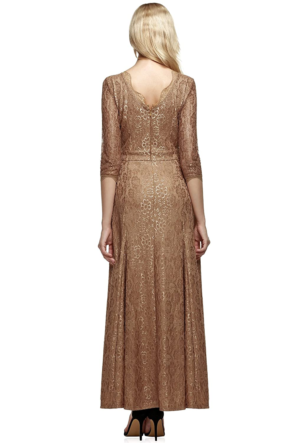 Amazon.com: ANGVNS Women Lace 2/3 Sleeve Bridesmaid Homecoming Gown Dress, Size X-Small, Brown: Clothing