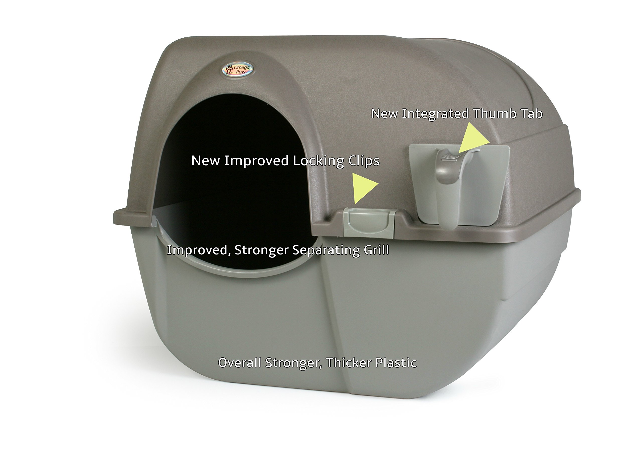 Omega Paw NRA15-1 Improved Roll 'n Clean Self Cleaning Litter Box, Regular, Pewter