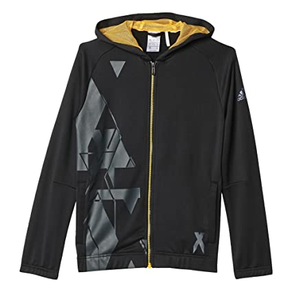 Adidas YB LR T FZ Hood - Sudadera para niño, Color Negro/Amarillo,