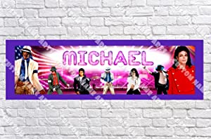 Personalized Michael Jackson Banner - Includes Color Border Mat, with Your Name On It, Party Door Poster, Room Art Decoration - Customize