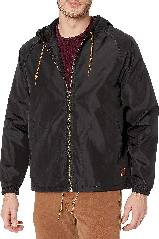Brixton Men's Claxton Hooded Water Repellant Windbreaker Jacket: Clothing