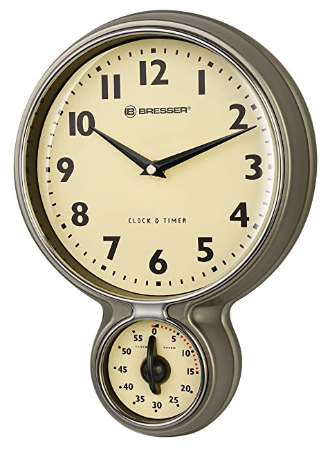Bresser Mytime Retro Kitchen Clock And Timer, Stainless Steel
