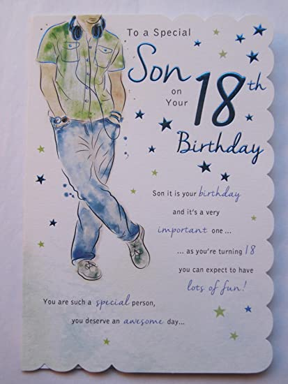 STUNNING TOP RANGE BEAUTIFULLY WORDED SON EIGHTEEN 18TH BIRTHDAY GREETING CARD Amazoncouk Kitchen Home