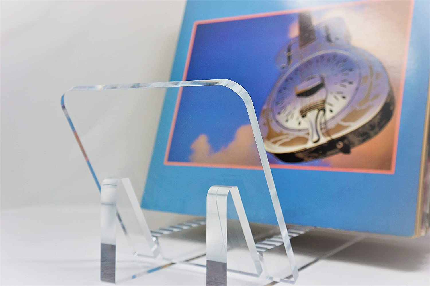 Vinyl Record Album Storage Display Stand and Holder – Modern Minimalist Design – 100 Crystal Clear Acrylic – For LP Record Albums, DVDs, or CDs – Made in USA