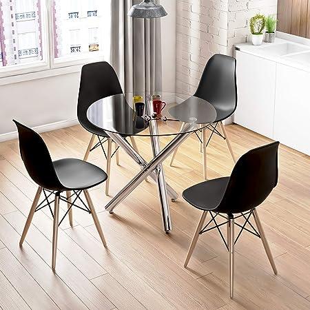 Table De Salle A Manger Et 4 Chaises Table Ronde En Verre Moderne