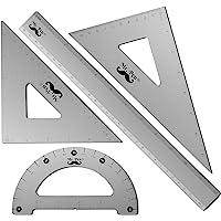 Mr. Pen - Geometry Set, 4 Pack, Metal Protractor, Aluminum Ruler, Metal Set Square, Triangle Ruler, Drafting Triangles…