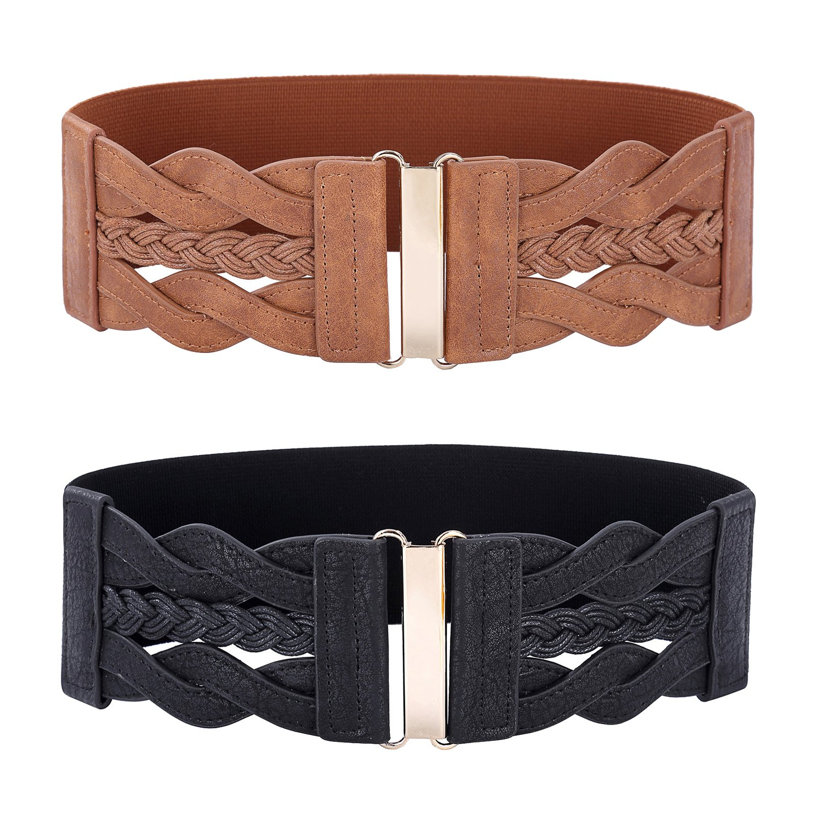 Women Fashion Belts for Dress Wide Elastic Stretch Belt Brown and Black Size M by PAUL JONES