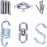 Universal HANGING KIT - Heavy Duty Sturdy Ceiling Hook Mounting Kit for Hammock Chair , Heavy Bag , Punching Bag , Hanging Plants , Porch Swing - Includes Hook Mount, Swivel Hook, Spring, S-Hook - Supports 500lbs