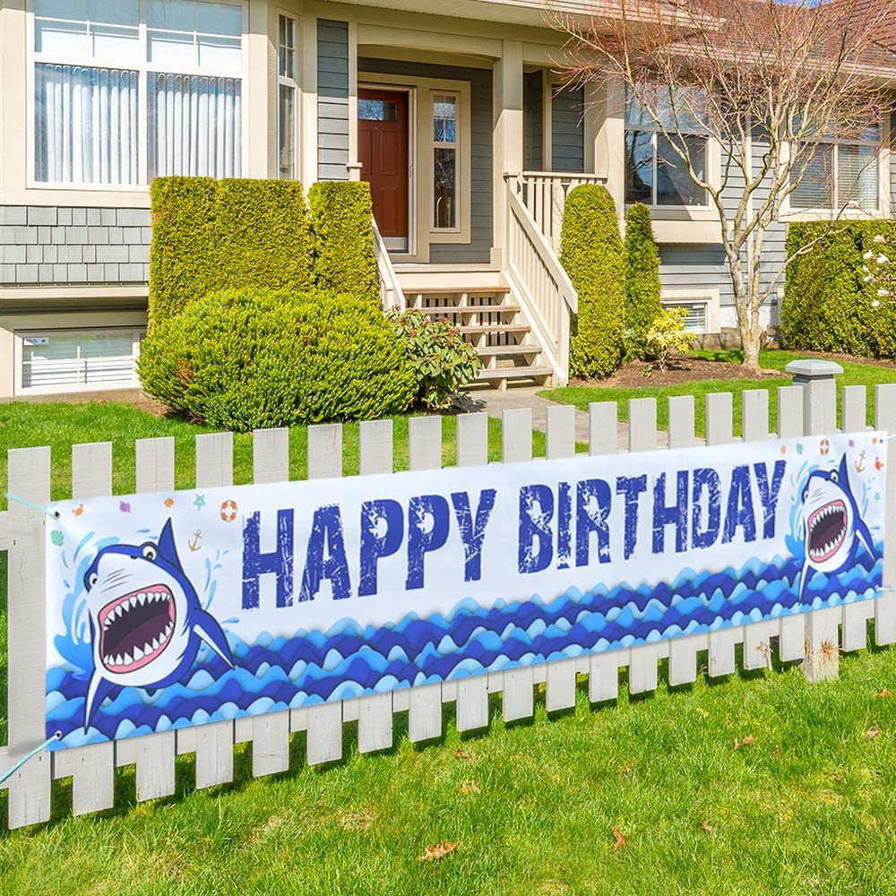 """WERNNSAI Shark Large Happy Birthday Banner - 19"""" x 118"""" Big Yard Sign Blue Ocean Theme Party Supplies Outdoor Decorations Photo Background for Boys"""