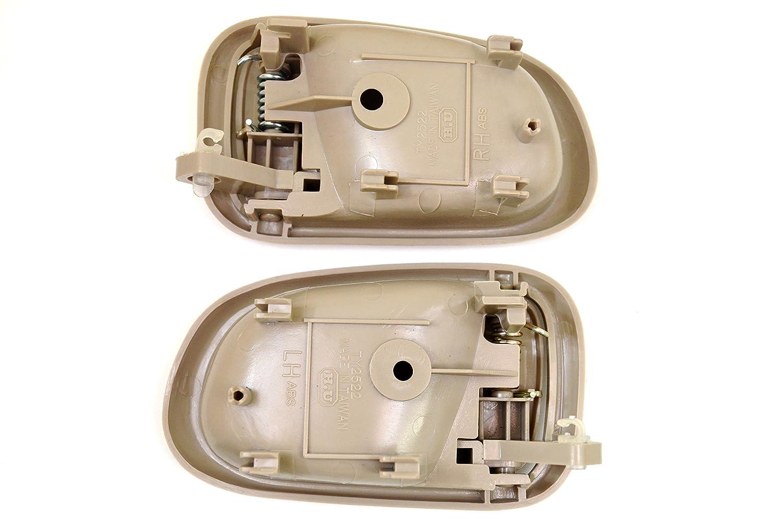 Left//Right Pair Inside Interior Inner Door Handle PT Auto Warehouse TO-2522E-DP Beige//Tan
