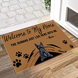 Dog Door Mat Personalized Name Custom Dog Breed Welcome to My Home Scottish Terriers Cartoon Welcome Home Non Slip Doormats 15
