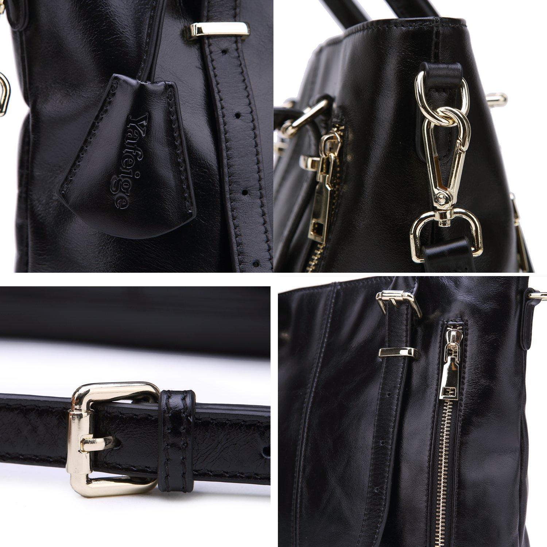 Yafeige Womens Leather Shoulder Handbags Satchel Tote Top Handle Bags Crossbody Handbag Purse for Ladies(Black) by Yafeige (Image #7)