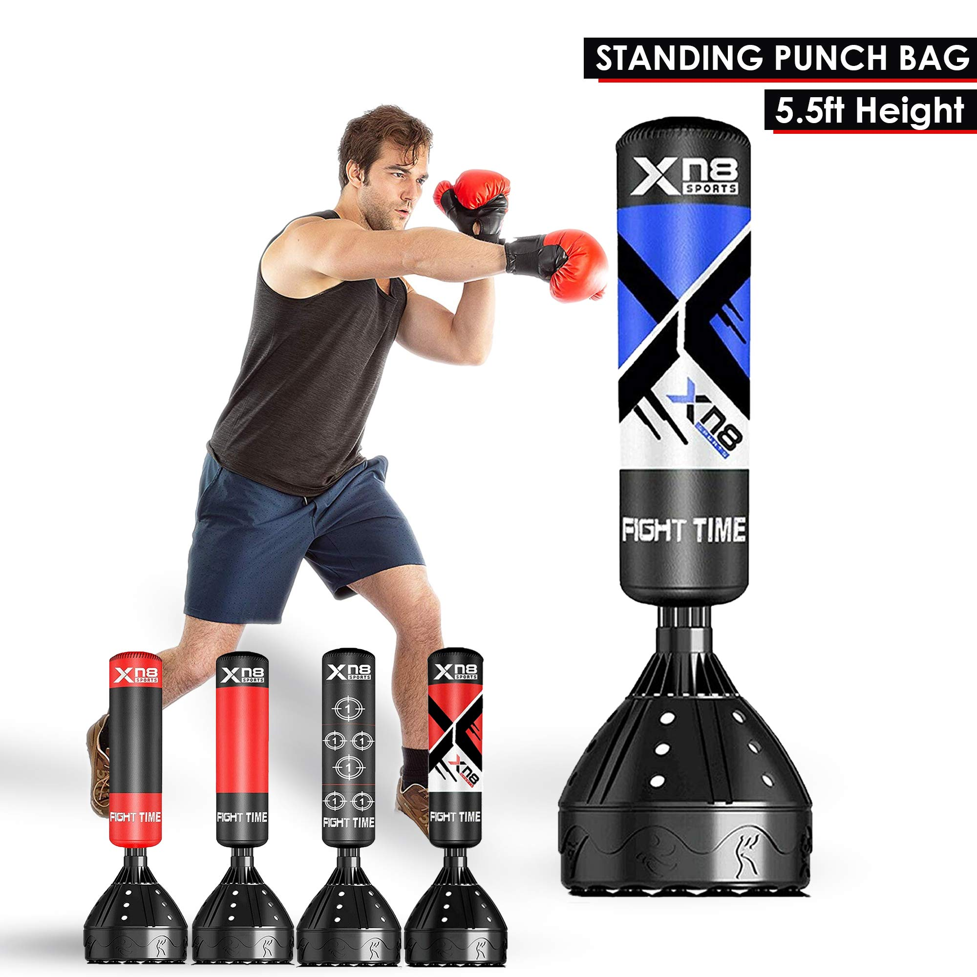 XN8 5.5ft Freestanding Punching Bag Stand Heavy Duty Kick Boxing Punch Bags Dummy Target Martial Arts MMA Training