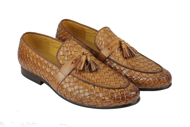 2ff8fe41a74 Men s Black   Tan Real Basket Woven Leather Tassel Loafer Vintage Driving  Shoes